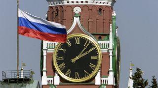 Spasskaya-tornin kello Kremlissä Moskovassa.