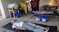 Opiskelijat osallistuivat kurssille, joka opetti Ebola-potilaiden oikeanlaista käsittelyä tartuntatautien keskuksessa Alabamassa, Yhdysvalloissa 15. lokakuuta.