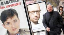 Vaalijulisteita Kiovan kadulla.