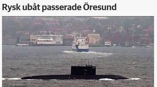 Sydsvenskanin nettsisivu jossa sukellusvene