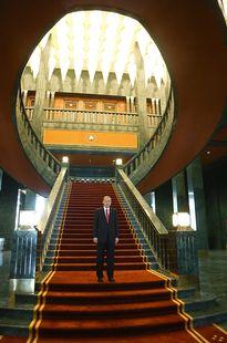 Turkin presidentti Tayyip Erdogan uudessa palatsissa 29. lokakuuta 2014.