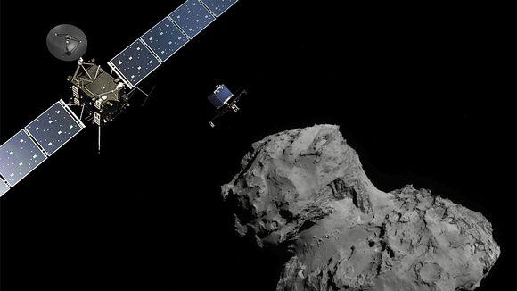 Piirroskuva Rosettasta ja siitä irtautuneesta Philae-laskeutujasta matkalla kohti Tshurjumov-Gerasimenko-komeettaa.