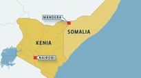 Kartta, jossa Kenia ja Somalia sekä Kenian kaupungit Nairobi ja Mandera.
