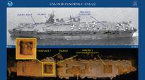 USS Independence CVL-22 -laivaa esittävä vanha mustavalkokuva yhdistettynä merenpohjassa makaavasta laivanhylystä kaikuluotaimen avulla tuotettuun 3D-kuvaan.