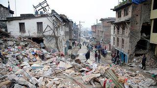 Katunäkymä Kathmandusta 26.huhtikuuta.