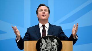 Iso-Britannian pääministeri David Cameron puhui maahanmuutosta Lontoossa 21. toukokuuta.