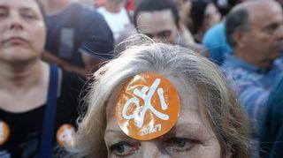 Kreikan kansanäänestyksen ei-kannattajia.