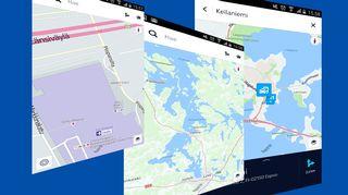 Ruutukaappauksia Nokian Here-karttapalvelusta.