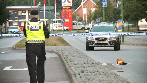 Police examine the explosion damage at the beginning of July 2015 in Malmö, Sweden.