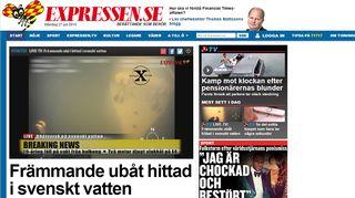 Kuvakaappaus Expressenin uutisesta Ruotsin aluevesiltä löytyneestä sukellusveneestä.