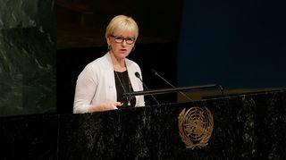 Ruotsin ulkoministeri Margot Wallström valokuvattuna YK:n päämajassa New Yorkissa huhtikuussa 2015.