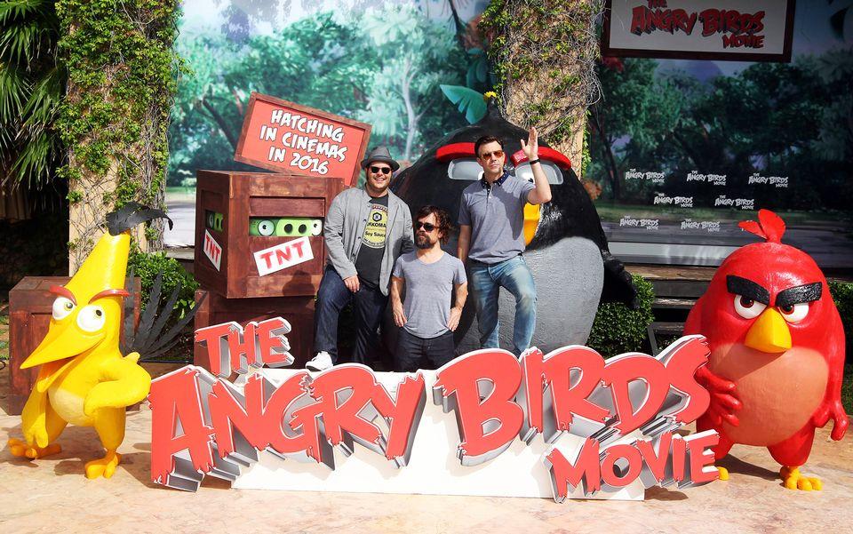 kuvassa angry birds elokuvan ninyttelijit lehdisttilaisuudessa meksikossa keskuussa 2015