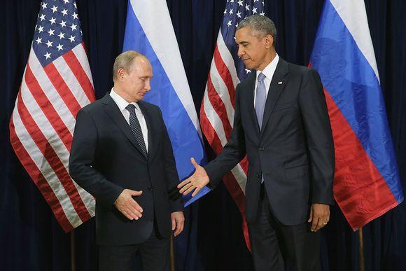 Vladimir Putin ja Barack Obama tapasivat YK:n päämajassa New Yorkissa maanantaina.