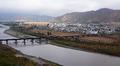 Yleiskuva Namyangin kaupungista Tumen-joen varrella.