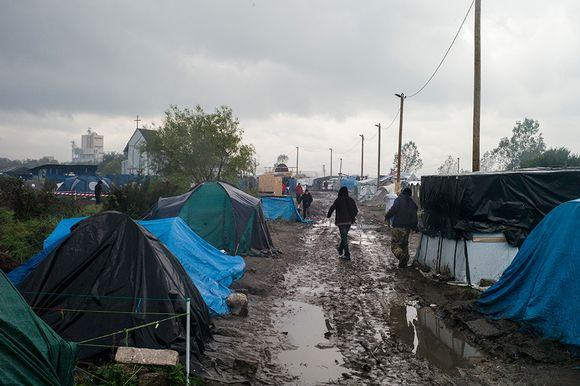 Siirtolaisleiri Calaisin ulkopuolella Ranskassa 16. lokakuuta.