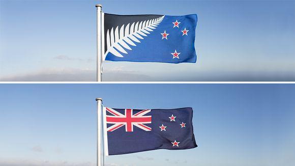 Yllä Uuden-Seelannin uusi lippuehdokas, alla Uuden-Seelannin nykyinen lippu.