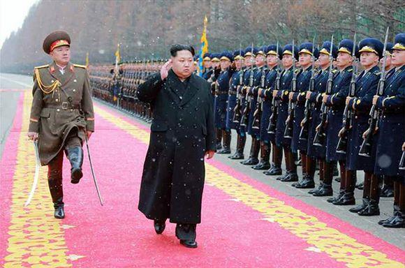 Kim Jong-un Pjongjangissa 10. tammikuuta.