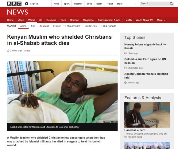 Kristittyjä suojellut Salah Farah kuoli al-Shabaabin hyökkäyksessä saamiinsa vammoihin nairobilaisessa sairaalassa maanantaina.