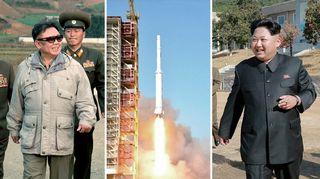 Kollaasi Kim Jong-unista, Kim Jong-illistä ja nousevasta raketista.