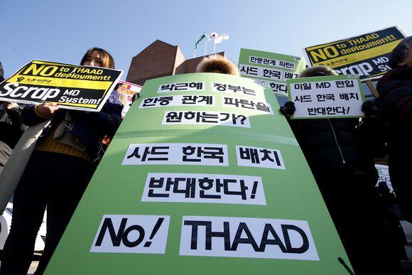 Seoulissa osoitettiin mieltä THAAD-ohjusjärjestelmää vastaan helmikuun 2. päivä.