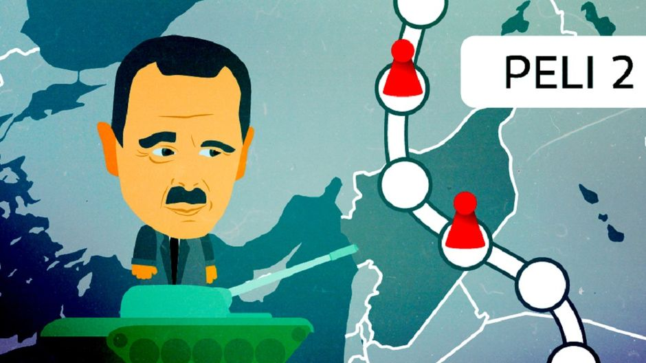 Kuva pelilaudasta, jossa Syyrian presidentti Bashar al-Assad.