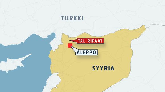 Syyrian kartta, johon on merkitty Aleppo ja pohjoisessa sijaitseva Tal Rifaat.
