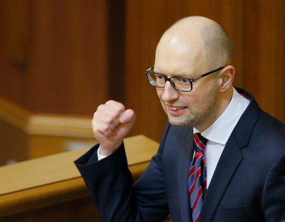 Ukrainan pääministeri Arseni Jatsenjuk puhui parlamentille tiistaina.