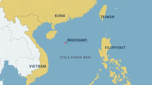 Kartta Etelä-Kiinan merestä - karttaan on merkitty keskelle Paracelsaaret.