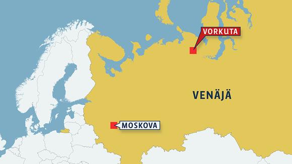 Kartta, jossa näkyy Vorkutan sijainti Venäjällä.