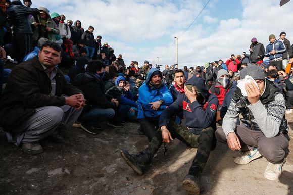Calais'n pakolaisleirin asukkaita 29. helmikuuta 2016.