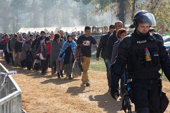 Pakolaisia Sloveniassa lokakuussa.