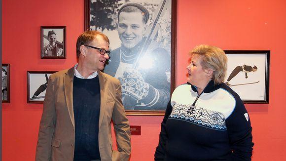 Pääministerit Juha Sipilä ja Erna Solberg.