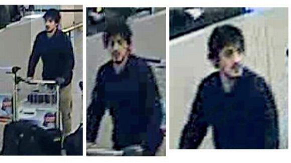 Belgian poliisin julkaisema kuva Brysselin lentokentän pommi-iskusta epäillystä miehestä. Mustiin pukeutuneet miehet ovat ilmeisesti itsemurhapommittajia.