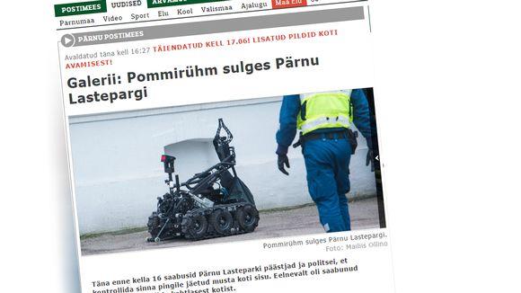 Kuvakaappaus Pärnun Postimees -lehdestä.