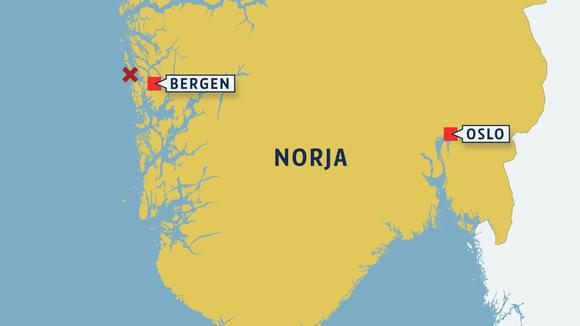 Norjan kartta johon merkattu koneen mahdollinen putoamispaikka lähellä Bergeniä.