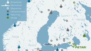 Suomen ja lähialueen merkittävät joukko-osastot.