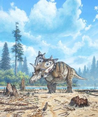 Piirrosuva karuhkosta maisemasta, jossa dinosaurus asetelee.