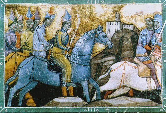 Mongoleita hevosten selässä esittävä maalaus vuodelta 1241