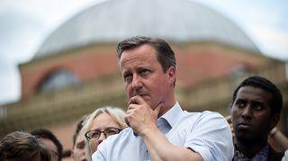David Cameron kuvattuna Eu:ssa pysymisen puolesta järjestetyssä kampanjassa Birminghamissa 22. kesäkuuta 2016.