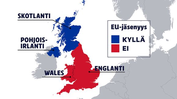 Britannian kartta, jossa EU-kansanäänestyksen tulos.
