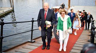 Kuningas Harald ja kuningatar Sonja Trondheimissa, Norjassa 23. kesäkuuta.