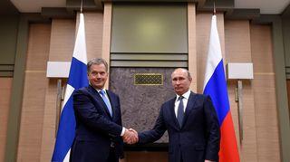 Presidentit Sauli Niinistö ja Vladimir Putin. Moskova, maaliskuu 2016.