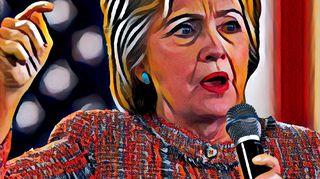 Hillary Clinton puhuu mikrofoniin.