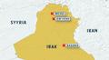 Kartta Pohjois-Irakista.