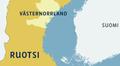 Ruotsin kartta, joss Västernorrlandin lääni.