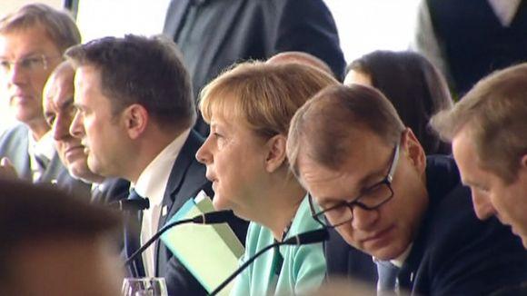 Pääministeri Juha Sipilä Saksan liittokansleri Angela Merkelin vieressä Bratislavassa 16. syyskuuta.