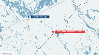 Kartta, johon merkitty Lappeenranta ja Nuijamaan rajanylityspaikka.