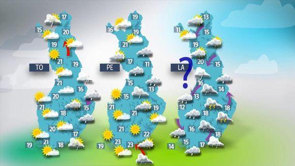 Loppuviikolla on monin paikoin poutaista, mutta myös sateet ovat mahdollisia.