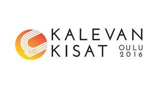 """Urheilurataa muistuttava logo sekä teksti """"Kalevan kisat, Oulu 2016""""."""