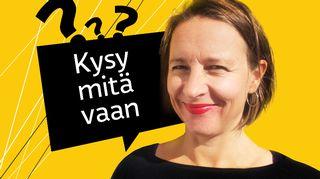 Kuvassa Kysy mitä vaan -ohjelman toimittaja Mira Selander.